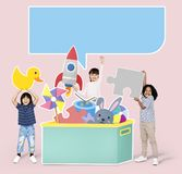 Cheerful diverse kids playing with toys stock photos