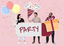 Cheerful diverse people holding party icons royalty free stock photo
