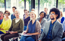 Cheerful and Diverse People Listening stock image