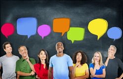Cheerful and Diverse People Thinking and Speech Bubbles.  Stock Images