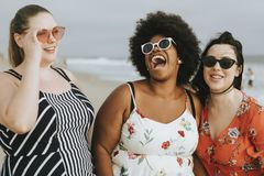 Cheerful diverse plus size women at the beach royalty free stock photo
