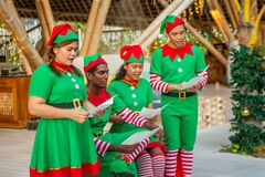Cheerful diversity male and female christmas elves singing song during celebration party