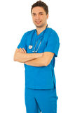 Cheerful doctor in blue uniform Stock Photo