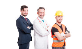Cheerful doctor, businessman and builder Royalty Free Stock Photography