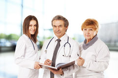 Cheerful doctors posing together Royalty Free Stock Photo