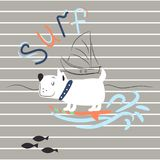 Cheerful dog surfing print for child apparel t shirt design. royalty free illustration