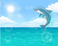 Cheerful dolphin in summer sea. The dolphin who is jumping out of sea water of the ocean in splashes against the blue sky and the sun. Horizontal landscape Stock Photos