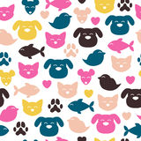 Cheerful domestic animals seamless pattern. Cheerful domestic animals seamless colorful pattern. Cat, dog, fish, bird and mouse. Pet-shop background Stock Image
