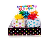Cheerful dotted gift boxes Royalty Free Stock Photo