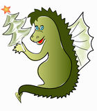 Cheerful dragon. With a christmas tree Stock Photos