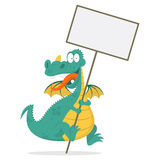 Cheerful dragon holds in hands blank board Stock Photography