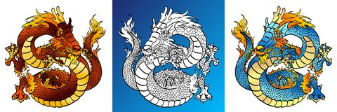 Cheerful Dragons colorful and line-art stock illustration