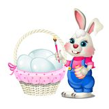 Cheerful Easter bunny with a brush in his paws and a basket of chicken eggs isolated on white background. Vector cartoon stock illustration