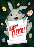 Cheerful easter bunny holding message poster. cartoon banner. Vector illustration Stock Images