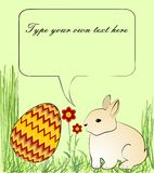 Cheerful Easter decoration with cute beige bunny in grass, chevron decorated egg and red flowers Stock Photos