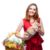 Cheerful easter  woman  with rabbit Stock Images