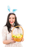 Cheerful Easter woman with soap bubbles Stock Photo