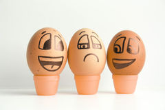 Cheerful eggs. The concept of discontent Stock Images