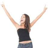 Cheerful elated woman on white background Royalty Free Stock Photography