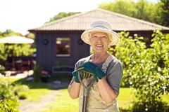 Cheerful elder woman with gardening tool in backyard. Portrait of cheerful senior woman with gardening tools outdoors. Older woman standing with shovel in her Stock Photo