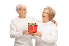 Cheerful elderly couple exchanging gifts Royalty Free Stock Image