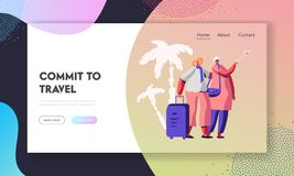 Cheerful Elderly Couple with Luggage Making Selfie in Exotic Voyage Tour, Aged Traveling People Tourists Having Fun Together. Website Landing Page, Web Page stock illustration