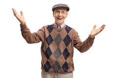 Cheerful elderly man making a welcome gesture Royalty Free Stock Photo