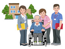 Cheerful elderly person in wheelchair with his nursing caregiver Stock Images