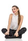 Cheerful Elegance Woman Legs Crossed Royalty Free Stock Photo
