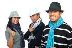 Cheerful elegant friends in hats Stock Image