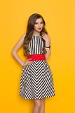 Cheerful Elegant Woman In Striped Dress Stock Photo