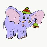 Cheerful elephant with a christmas bell.  royalty free stock photography