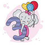 Cheerful elephant with number three. Birthday party card vector illustration