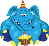 Cheerful elephant sitting and looking at cake with a candle Stock Photography