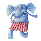 Cheerful elephant in striped pants Stock Photos