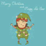Cheerful elf hung with garlands. 2015 New Year and Christmas background. Cheerful elf hung with garlands on a bright background Stock Photography