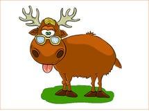 Funny elk. Cheerful elk, brown elk, deer standing vector illustration