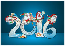 Cheerful elves ride salute with gifts. Royalty Free Stock Image