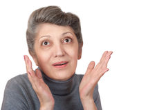 Cheerful emotional elderly woman Royalty Free Stock Images