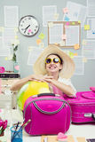 Cheerful employee leaving for vacations Royalty Free Stock Photo