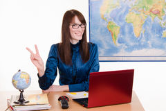 Cheerful employee travel agencies Royalty Free Stock Photos