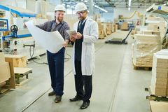Cheerful engineer presenting blueprint to investor in white coat stock image