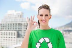 Cheerful environmental activist making okay gesture Royalty Free Stock Photography