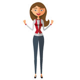 Cheerful european business girl joyfully reacts. Self-Satisfied young girl. Extremely excited young girl Stock Photos