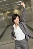 Cheerful and exciting business woman Stock Photo