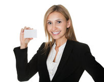 Cheerful executive with a blank business card Royalty Free Stock Photos
