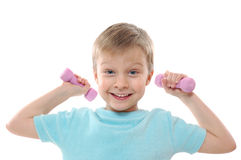 Cheerful exercising boy Royalty Free Stock Photos
