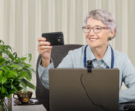 Cheerful experienced coach making selfie Stock Images