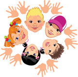 Cheerful face children. Vector illustration of face cheerful children and hand Stock Photography