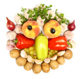 Cheerful Face Made From Fruits And Vegetables Stock Photos